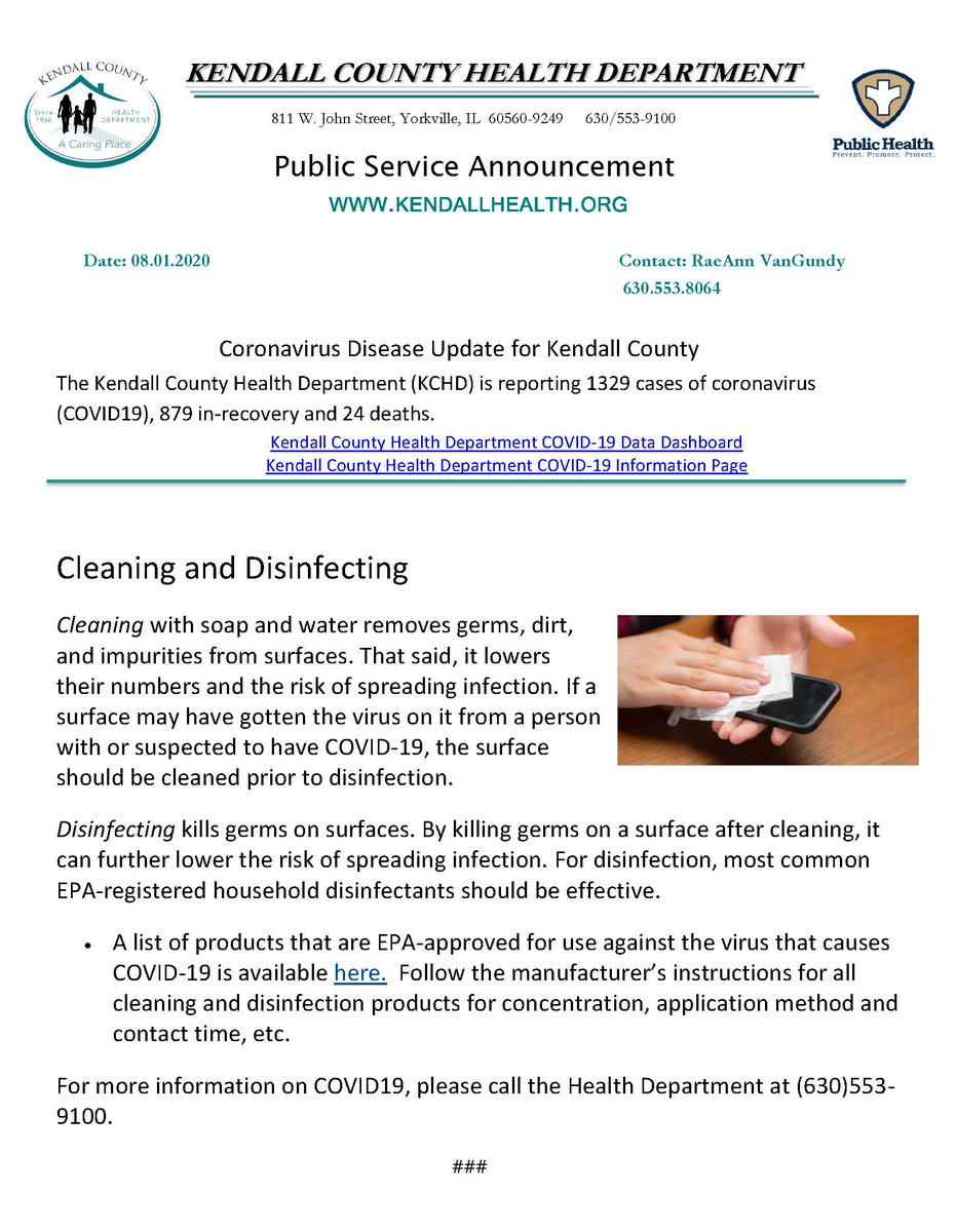 Coronavirus Disease Update for Kendall County