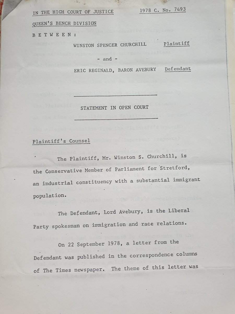 I've got to the part of my late father's archive where he accused the Conservative Party's 1970s immigration policies of being indistinguishable from those of the National Front and got sued for libel by Winston S. Churchill, Churchill's grandson.