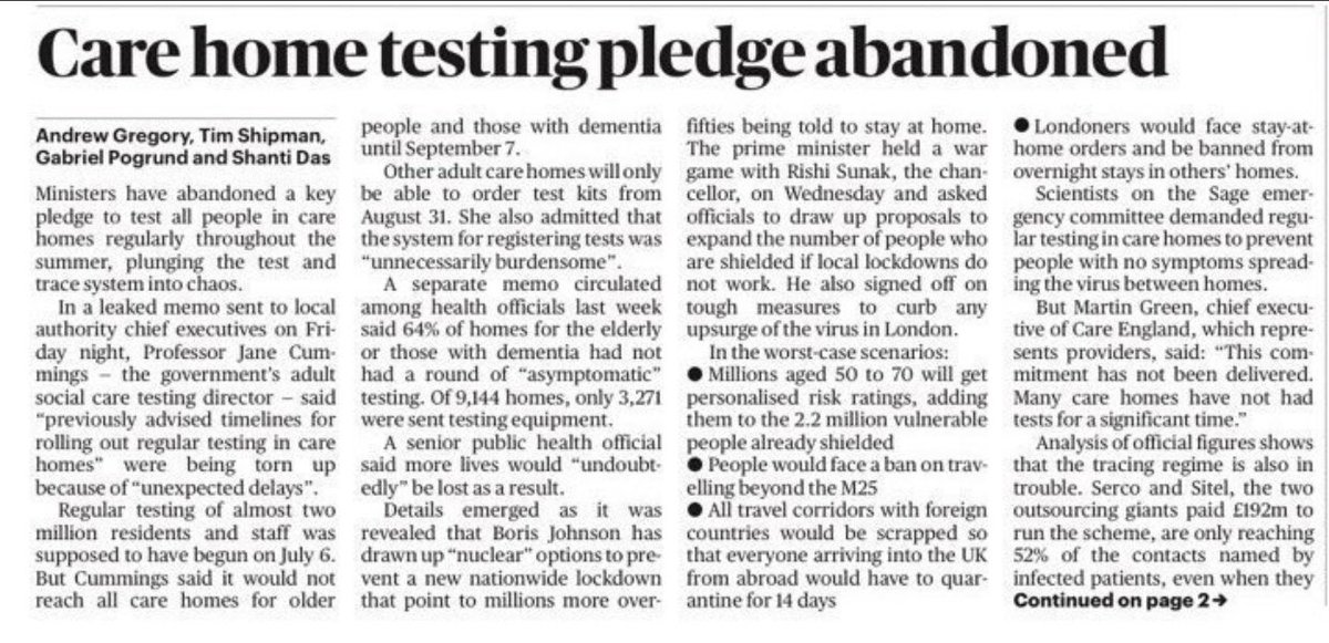 This, in today's Times, is sickening. The govt has already abandoned care homes once. Now they are at it again.  Weekly testing, promised with fanfare a month ago, is *still* not in place. Now - maybe - planned for Sept.  Our most vulnerable citizens - ignored & abandoned. Again.
