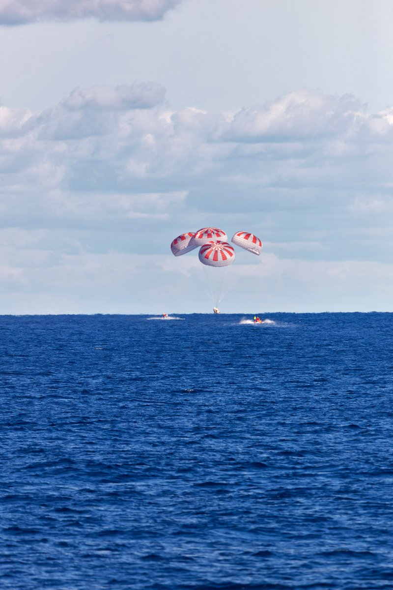 .@SpaceX's first #CrewDragon parachuted to a splashdown in the Atlantic Ocean during the uncrewed Demo-1 mission on March 8, 2019. @AstroBehnken and @Astro_Doug are scheduled to splashdown in the Gulf of Mexico today at 2:48pm ET.
