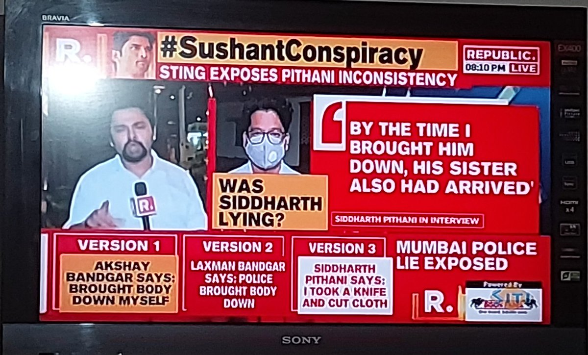 Shocking & Breaking @republic   -Driver Said he brought the body down -Police says they brought down Body -Siddharth Pithani said he took the knife, cut cloth & brought down body- Who is he? Was he authorized? Any video recorded?  #IndiaScreamsCBI4SSR  @MeenaDasNarayan @Swamy39