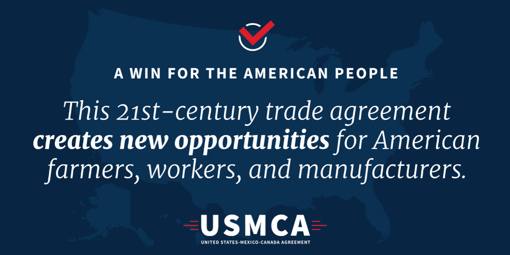 The #USMCA is the largest trade deal in American history. This historic trade agreement will create more balanced, reciprocal trade and will put American #manufacturing and American workers first.
