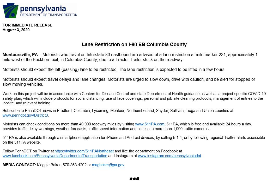Lane Restriction on I-80 EB Columbia County