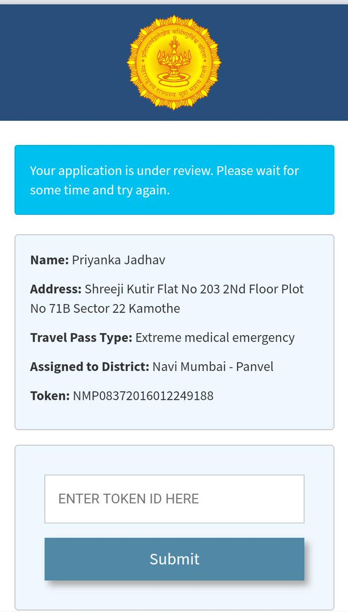 @AnilDeshmukhNCP Dear Sir we have applied for E-Pass, Need to travel From Navi Mumbai to Phaltan. Its emergency time because of my Wife Delivery Time. It's my humble request to you please approve my E-pass ASAP. Token No.NMP08372016012249188.