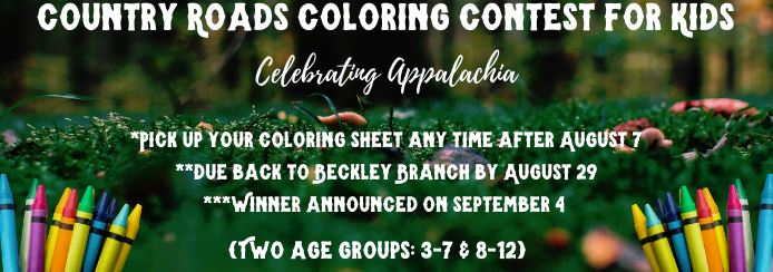 In keeping with our summer art theme, we're having a coloring contest for kids! Come and get coloring sheets for your little ones any time after the 7th!