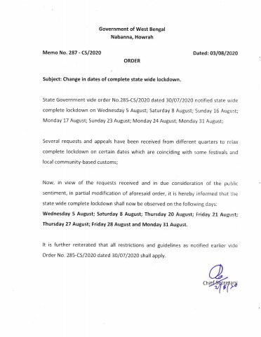 #Correction West Bengal government changes the lockdown dates again. Statewide complete lockdown shall now be observed on the following days: Wednesday 5th August, Saturday 8th August, Thursday 20th August, Friday 21st Aug, Thursday 27th Aug; Friday 28th Aug & Monday 31st August