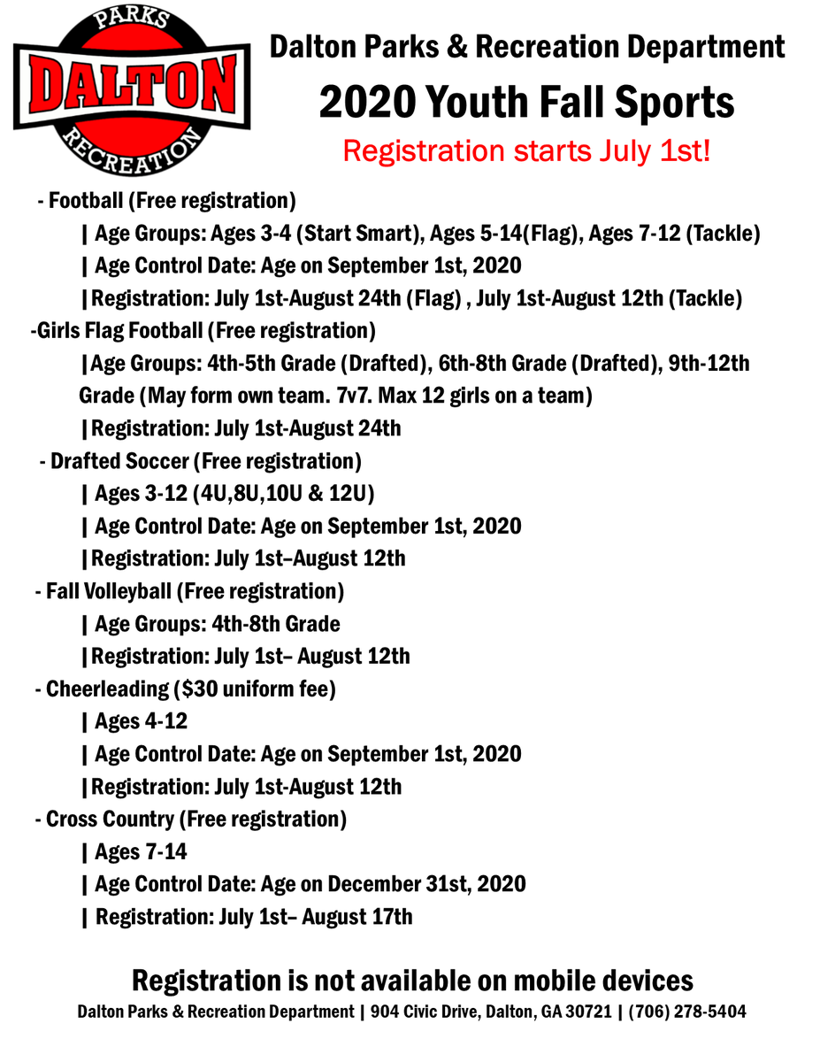 ⚽️Don't Forget to sign up for Youth Fall Sports!🏈 To register: