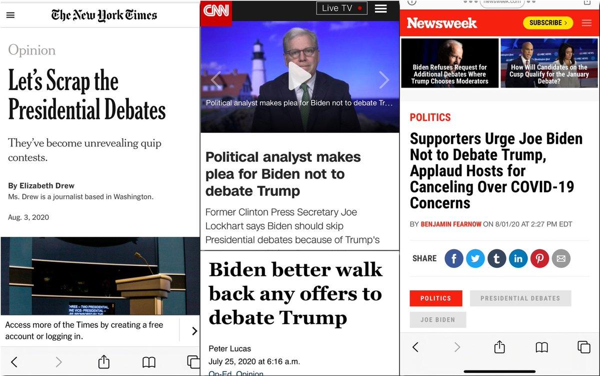 As predicted, the media effort to help @JoeBiden get himself out of debating Trump is now in full swing.