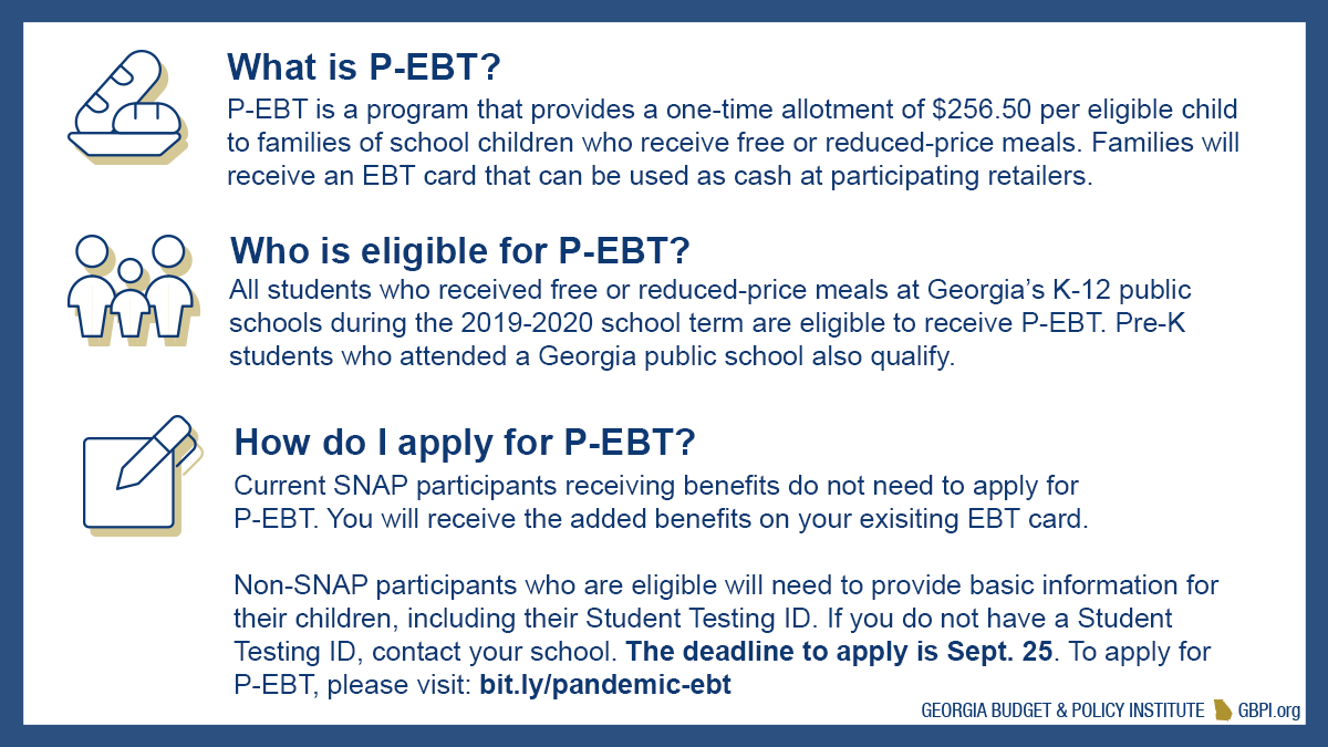 All students who received free or reduced-price meals at Georgia's K-12 public schools during the 2019-2020 school term are eligible to receive P-EBT. Families can learn more and apply here:  #gapol