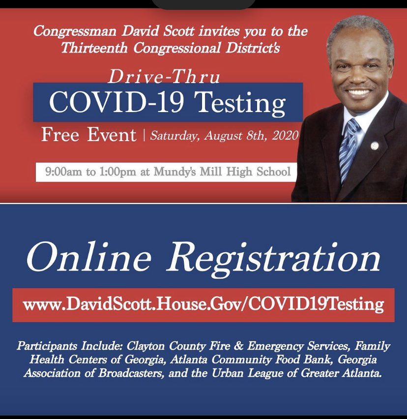 Register today for FREE FOOD & FREE COVID-19 testing.  Click the link and register for both. Share with one person. GO!!!  #claytonstrong #coronavirus #COVID19  #firefighters