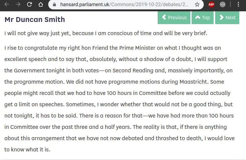 """""""The reality is that, if there is anything about this agreement that we have not now debated and thrashed to death, I would love to know what it is."""" Ian Duncan Smith in support of curtailing the time to debate the withdrawal agreement, before voting for it. 🧐  h/t @localnotail"""