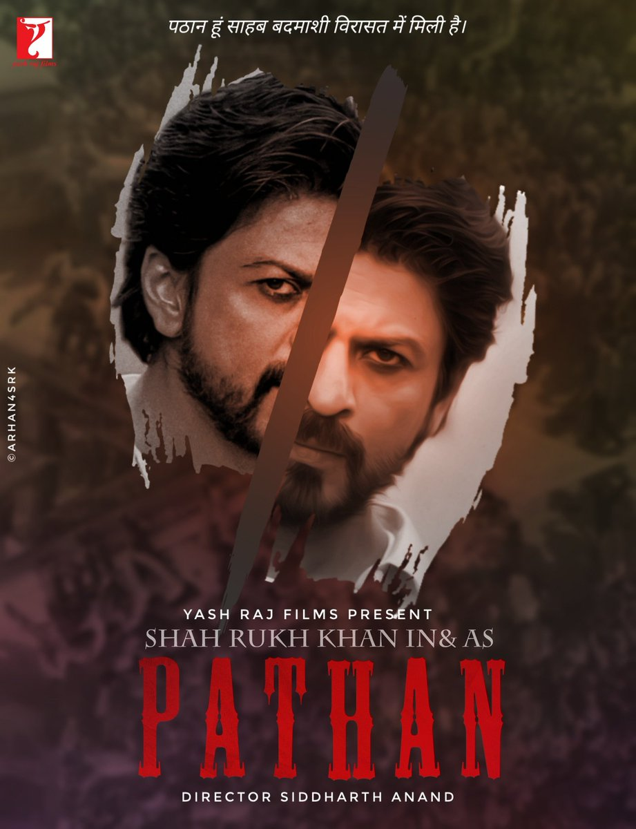 #ShahRukhKhan to star in & as #Pathan in YRF's next lavishly-mounted action film directed by Siddharth Anand.  Here mine poster hope you all SRKians ❤️ it.