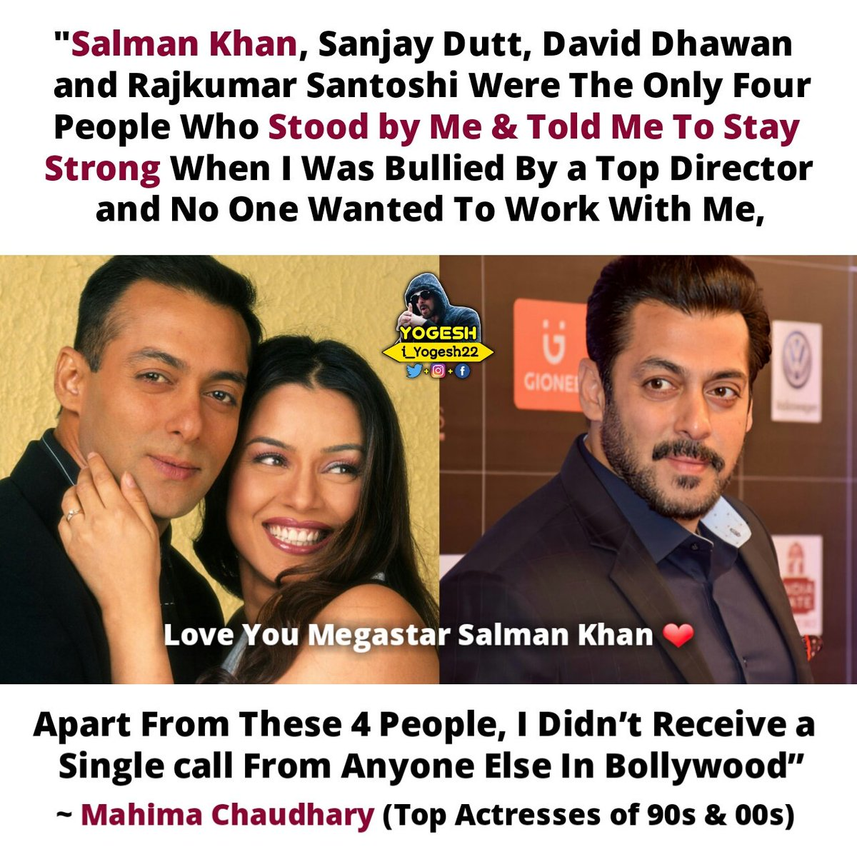 """""""#SalmanKhan, #SanjayDutt, #DavidDhawan and #RKSantoshi Were The Only 4 People Who Stood by Me & Told Me To Stay Strong When I Was Bullied By a Top Director, Apart From These 4 People, I Didn't Receive a Single call From Anyone Else In Bollywood"""" ~ #MahimaChaudhary (Actress)"""