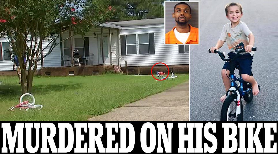 Five-year-old boy is shot dead at point blank range by neighbor, 25, as he rides bike in his own front yard
