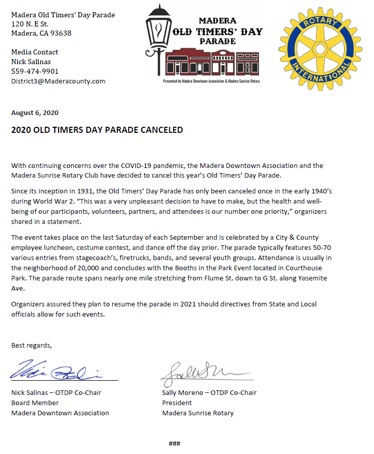 Organizers of the Old Timers' Day Parade have confirmed that years parade has been canceled due to continuing COVID-19 concerns. See the press release below.