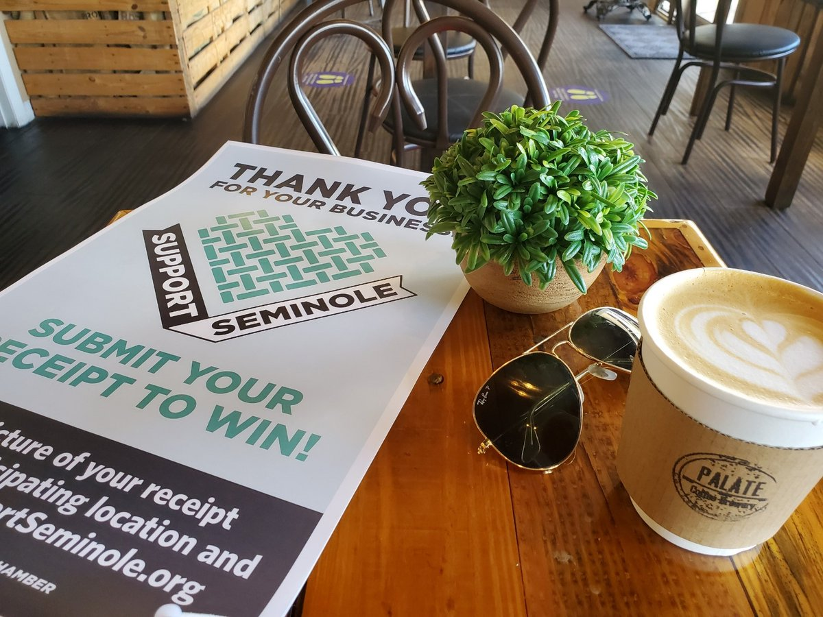 Wednesday mornings call for COFFEE! Visit Palate Coffee Brewery for an amazing coffee and because you chose a business participating in #SupportSeminole you just might win too!   Tag someone who you want to have coffee with in the comments (and upload your receipts!)