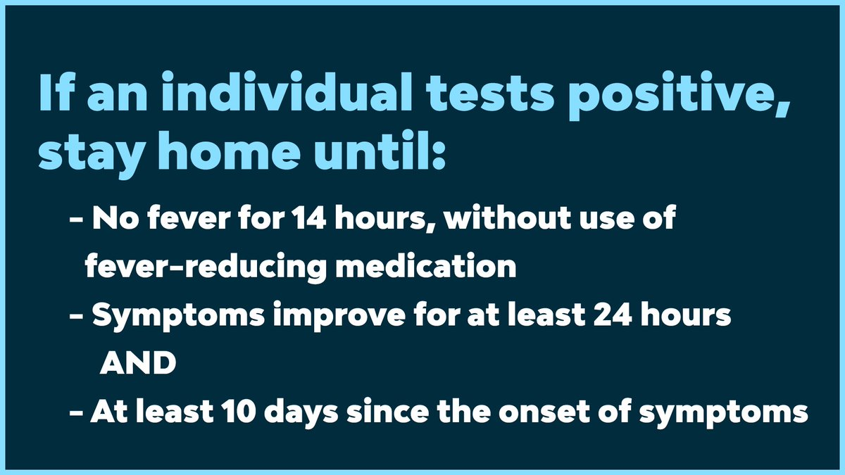 Students and faculty who have tested positive will follow standard protocol and stay home. They'll be able to return to school once they've met the following criteria and have received a release letter from public health officials.   (/3)
