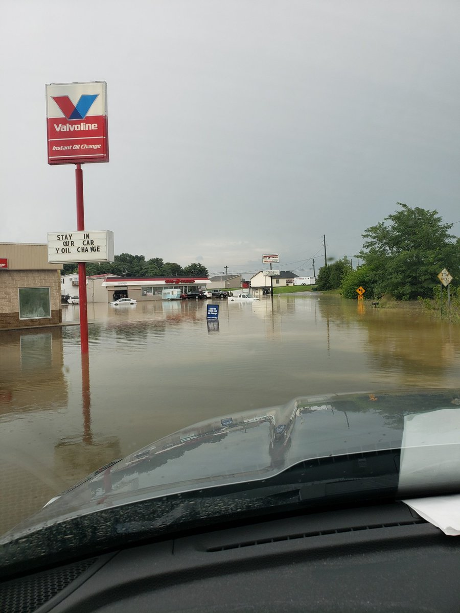 More flooding pictures from Corydon, courtesy Harrison County EMA.  Water levels are receding from the torrential rain, but lighter rain moving back in... #INwx #TADD