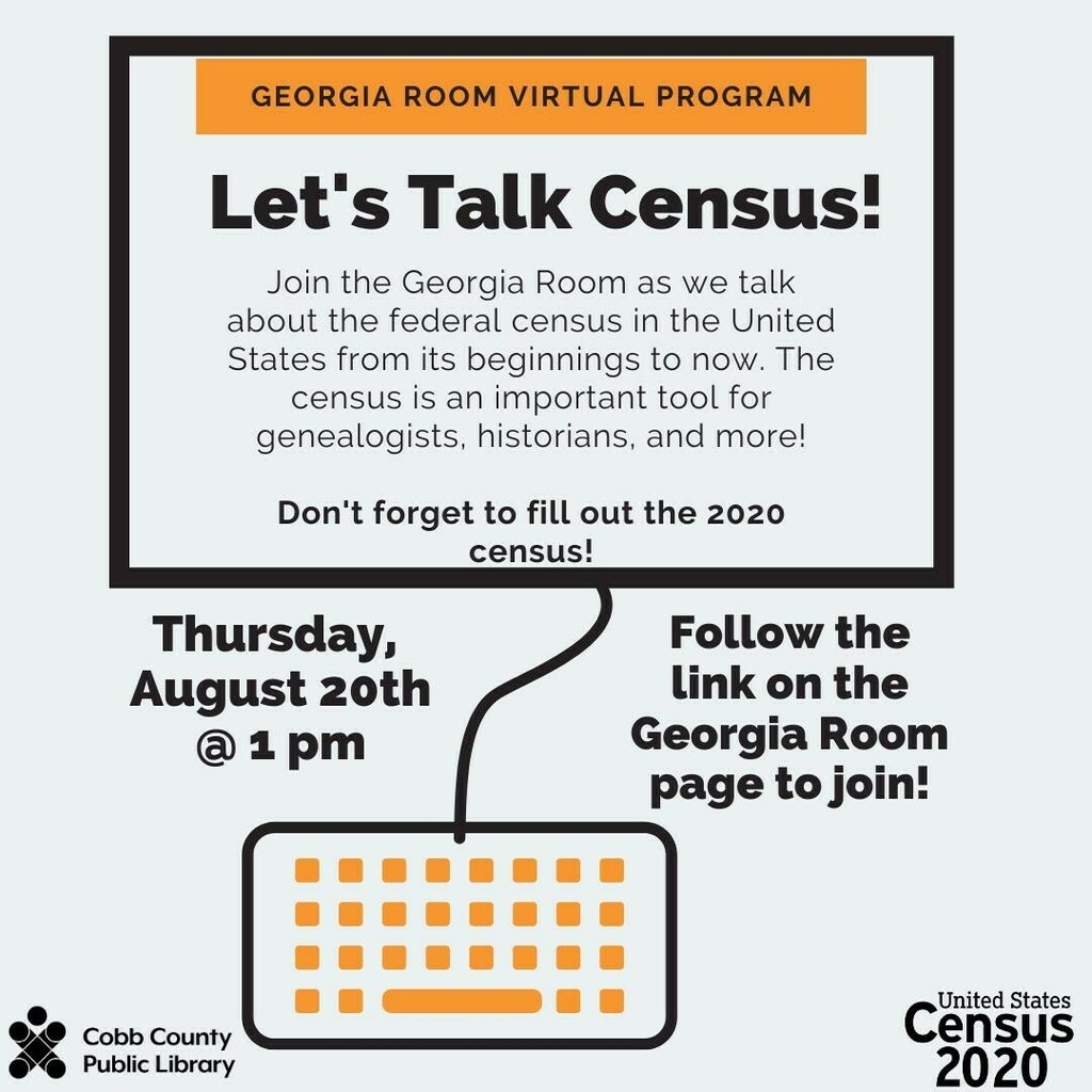 Join the #GeorgiaRoom as we talk about the federal census in the United States from its beginnings to now. The census is an important tool for genealogists, historians, and more! . Thursday, August 20  1 pm  visit  to access the…