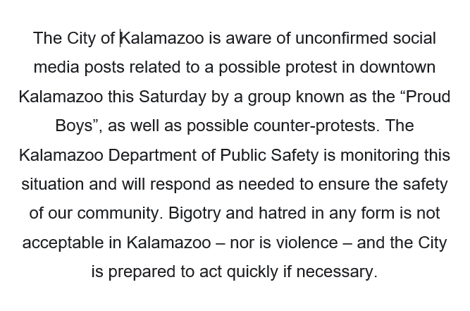 Statement regarding possible protests and counter-protests this weekend: