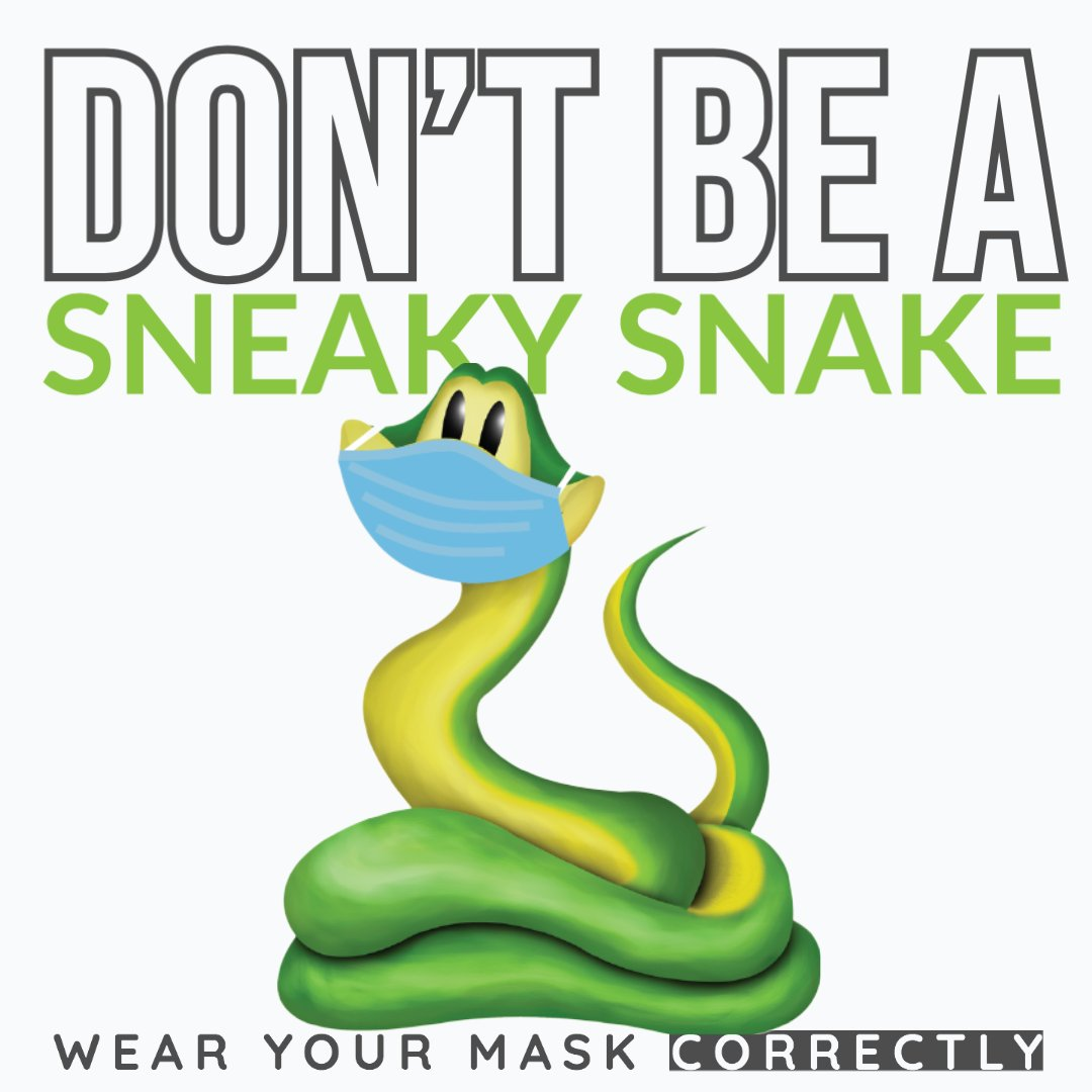 Make sure you are wearing your mask properly and that it covers both your nose and your mouth. 🐍  @KDHE  | #COVID19 | #WearAMask