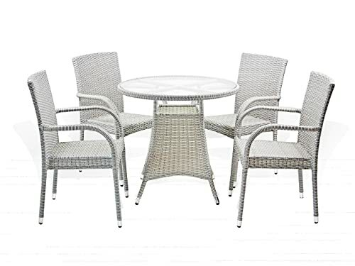 5 Pc Patio Resin Outdoor Wicker Dining Set. Round Table w Glass 4 Arm Chair....