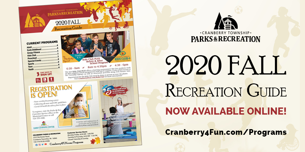 Check out Parks & Rec's new programs in our Fall Guide- online only!  #cranberryrocks