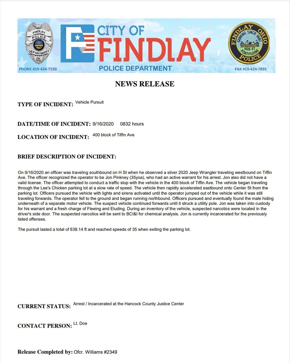 NEWS RELEASE   TYPE OF INCIDENT: Vehicle Pursuit  DATE AND TIME OF INCIDENT: 09/16/2020 @ 0832 hrs. LOCATION OF INCIDENT: 400 Block of Tiffin Ave.