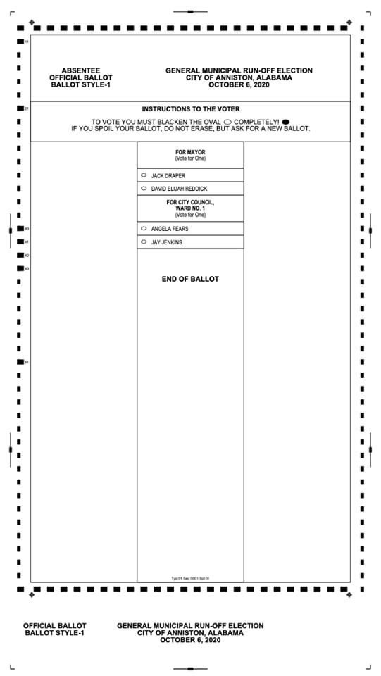 The City of Anniston would like to make its citizens aware that Sample #Ballots are now available for the October 6th Anniston Municipal Runoff #Elections!  Feel free to #Download these Sample Ballots by following this link:   Thank you!   #Runoff #Anniston
