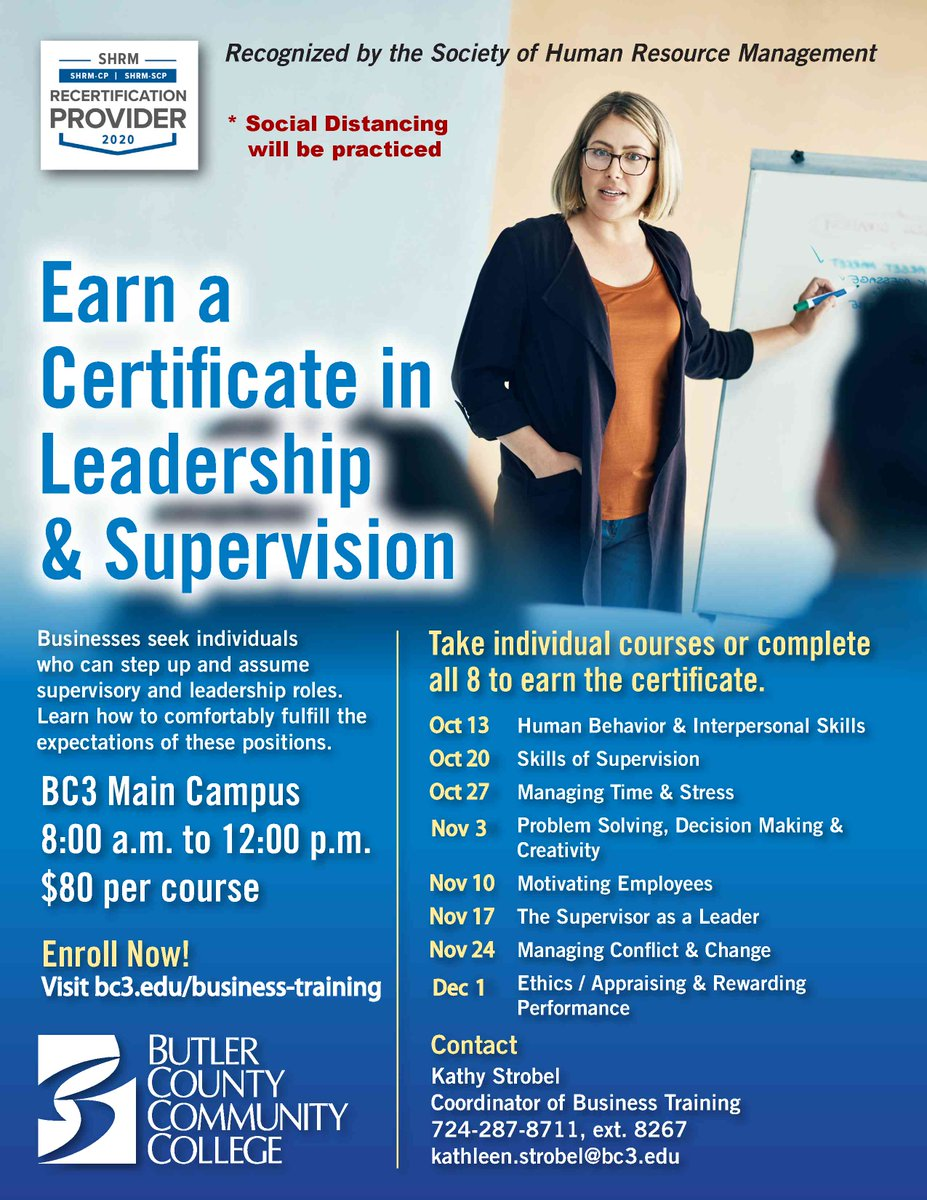BC3 is offering a Certificate in Leadership and Supervision program beginning October 13th.  You can complete all eight classes to obtain the certificate or take individual courses.  See the attached for additional information.