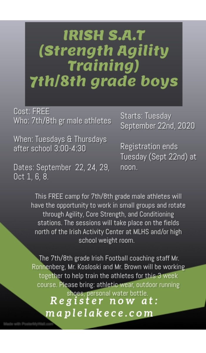 ☘️SAT is happening in September for boys in 7th & 8th grade. It's 🆓! Sign up at