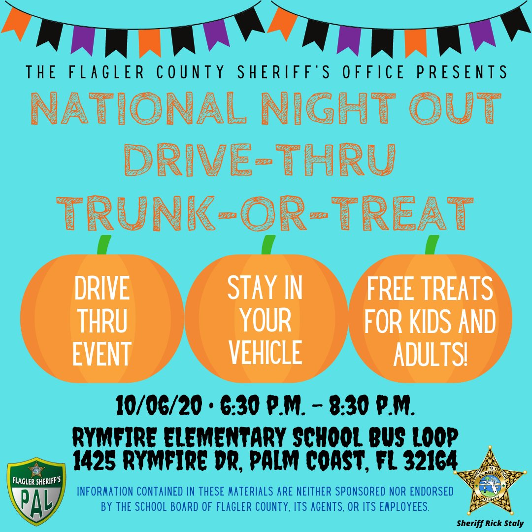 Join us for a creative take on National Night Out this year. We'll have a drive-through Trunk-or-Treat event on Oct. 6 from 6:30-8:30pm at Rymfire Elementary's bus loop!  FREE goodies for kids and adults. #FCSO 🎃