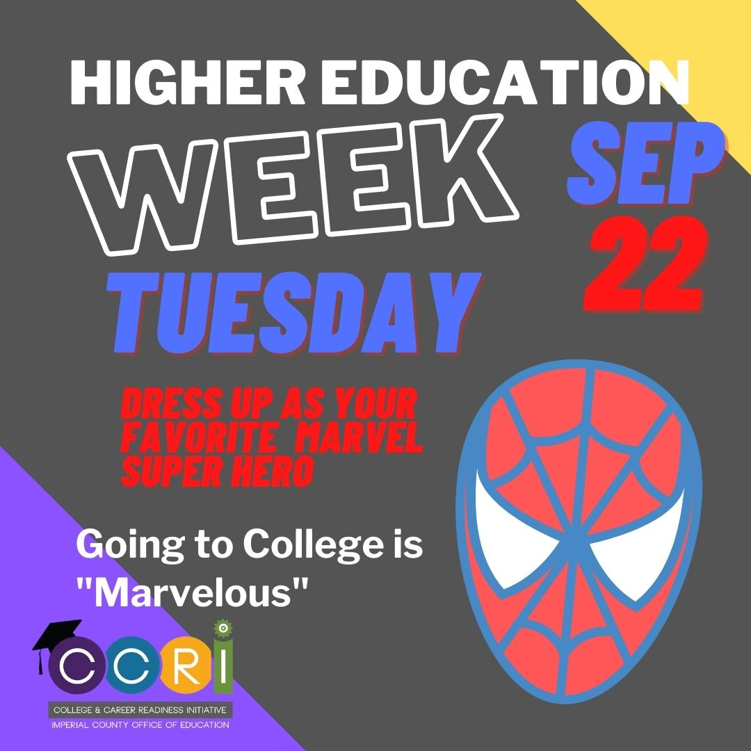 Going to college is MARVELous! Students and educators county-wide are dressing as their favorite Marvel Comics superhero. We believe that every student can go to college! Careers need training and colleges and universities provide that education for the future.