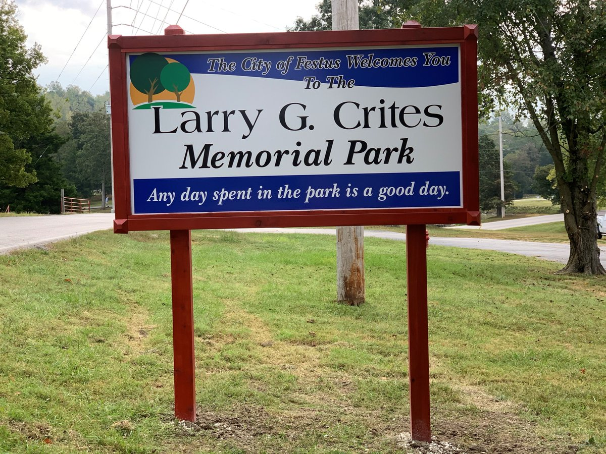 Several months ago, Council approved changing the name of West City Park to Larry G. Crites Memorial Park in honor of our Park Director who passed suddenly in April after almost 40 years of service.  Today the signs were installed.