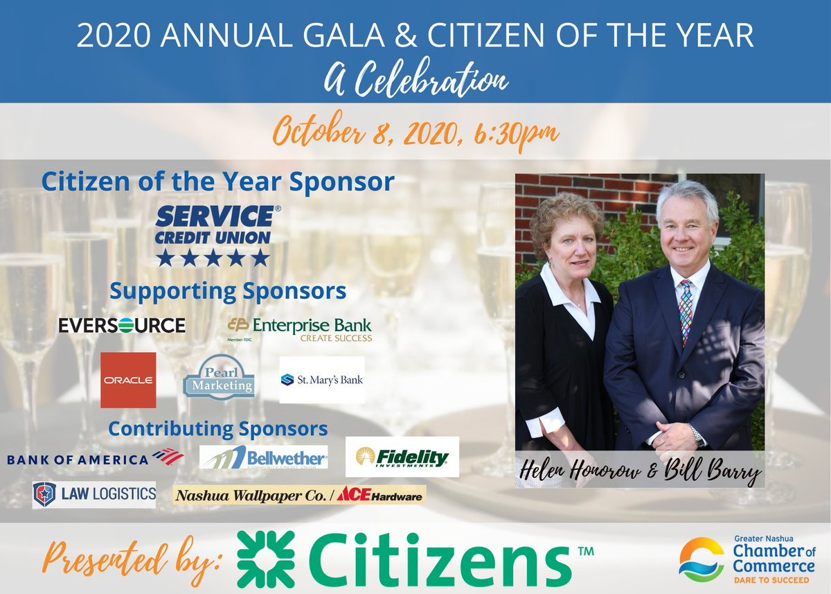 The virtual format of this year's Gala creates unique opportunities for marketing. A neat new option is the opp to film a congratulatory video for Bill Barry & Helen Honorow, to be aired on 10/8. Limited number of spots. Interested? Email kate@nashuachamber.com for details!