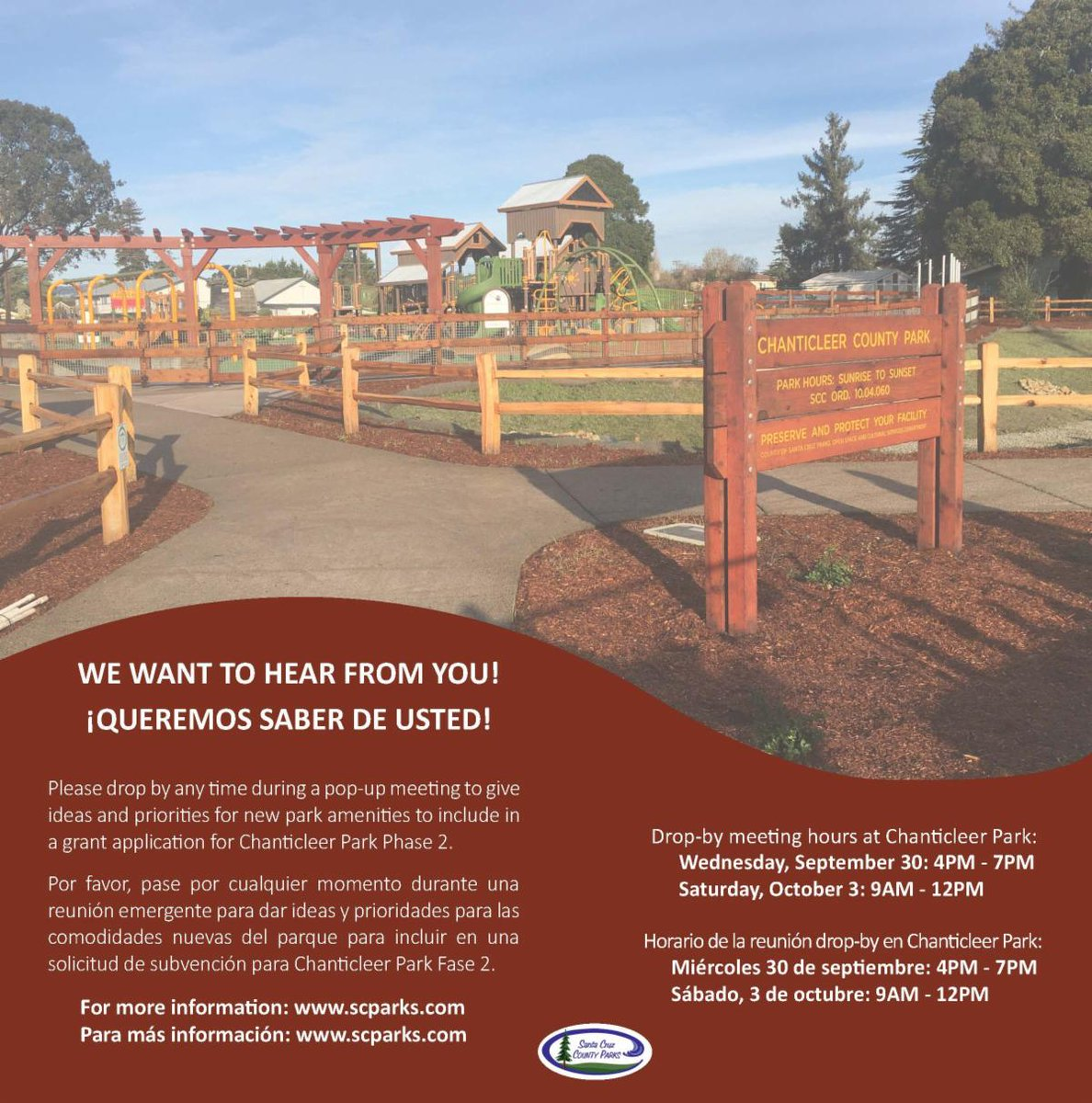 Parks will be holding two pop-up community meetings at Chanticleer Park to get community input on the priorities and most important new park amenities to include in a grant application for construction of phase 2 of the park. Wed, Sept. 30: 4PM - 7PM & Sat, Oct. 3: 9AM - 12PM