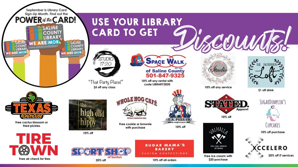 Show your library card at these businesses during September to receive amazing discounts!  You can view a full list of discounts by visiting our website: