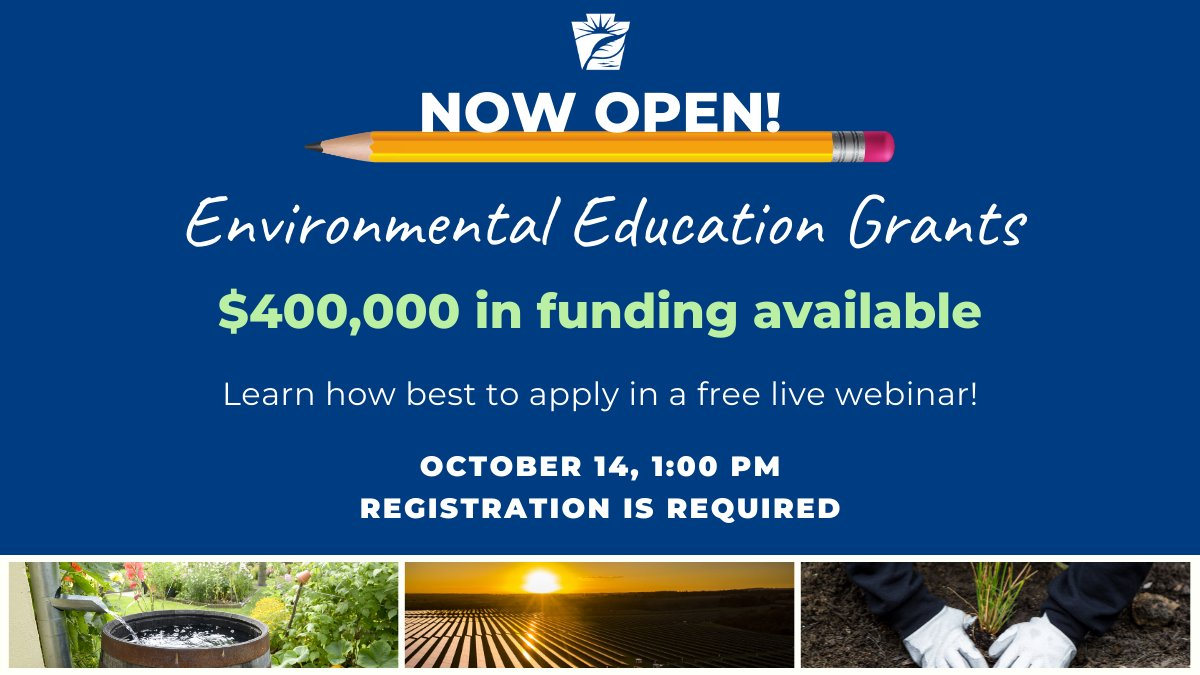 DEP has $400,000 in grant funding available for environmental education projects in 2021-22. Educators can learn how best to apply in a free live webinar on Wednesday, October 14, from 1:00 to 2:30 PM. Learn more and register ➡️   @PADeptofEd