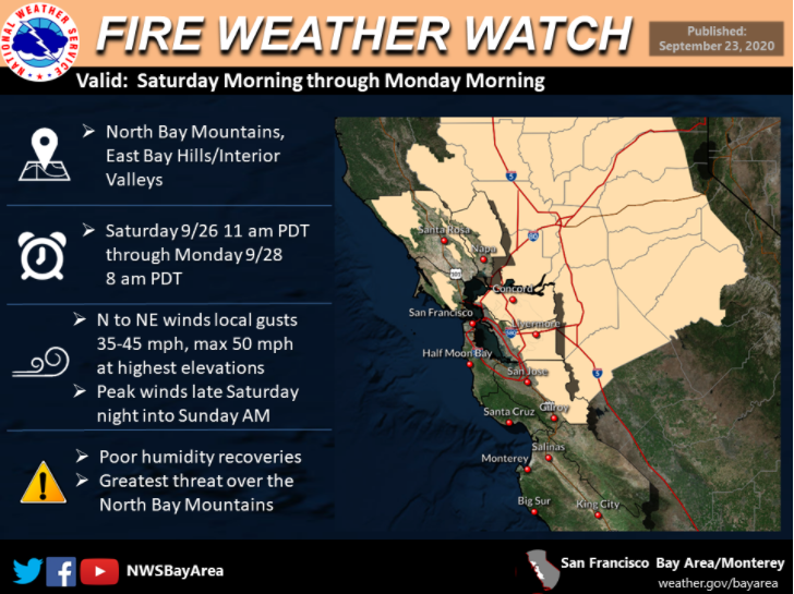 The NWS has issued a Fire Weather Watch for Saturday morning to Monday. Hot, dry & windy conditions expected meaning heightened fire danger. Plan now to protect your family & home by reviewing our Residents Guide to Wildfire Prep at .