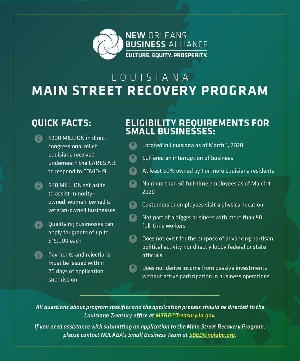 If you're a local #SmallBizOwner impacted by #COVID19, there's still time to apply for up to $15K in grant funding through the Louisiana Main Street Recovery Program!  Visit  today to find out if you qualify and apply before the deadline on Nov. 4th.