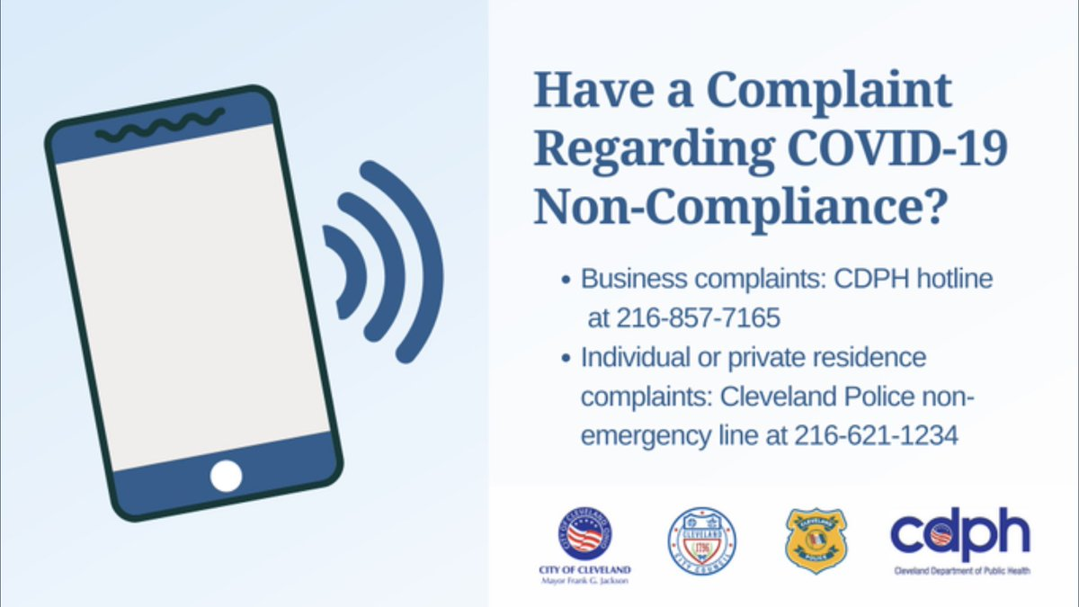 Do you have a COVID-19 non-compliance complaint? Here are two numbers Clevelanders should call regarding non-compliance: