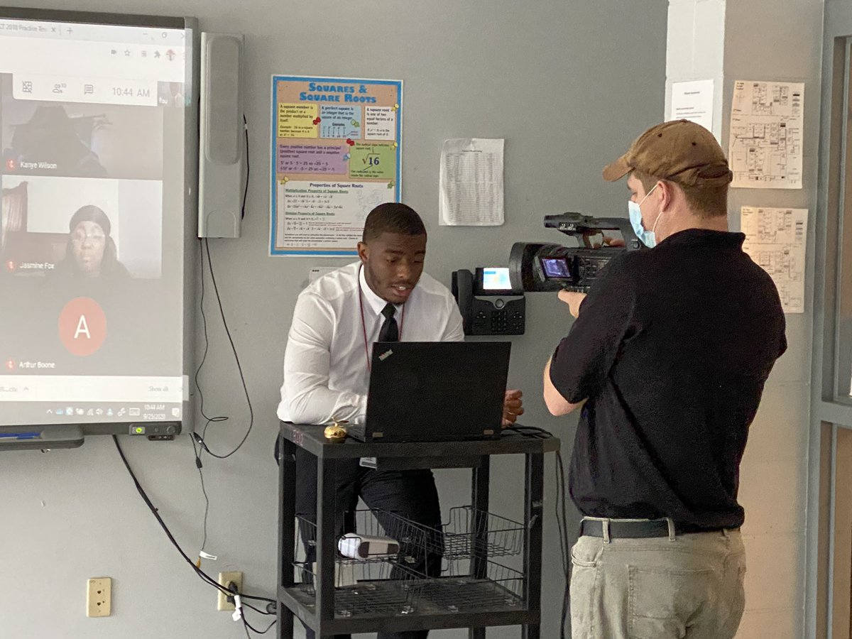 .@WKRG surprised @RaidersRain math teacher Jabari Jackson with a Golden Apple award today! Visit our Facebook page to see the surprise and watch WKRG on Oct. 27 to hear more of Jackson's inspiring story. #LearningLeading