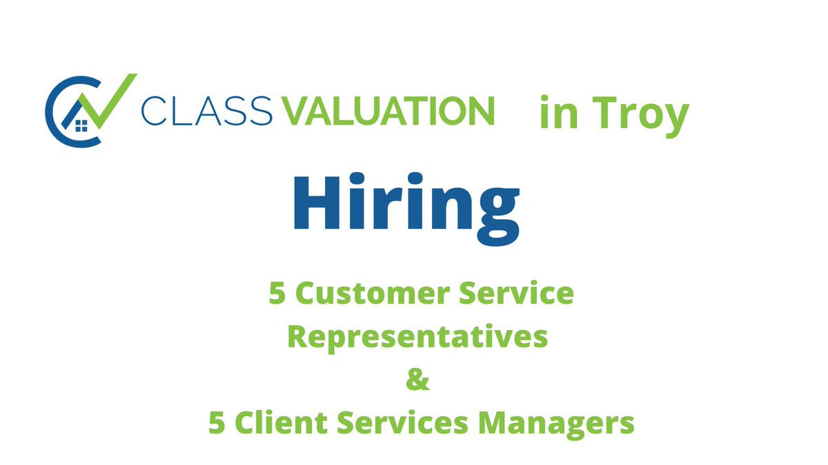 #Hiring is Happening at Class Valuation in #TroyMI for  5 - Client Service Managers  & 5- Customer Service Representatives   #Back2WorkMI #jobsearch #OaklandCounty #Michigan #MichiganJobs