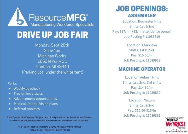 DRIVE UP #JobFair Monday, September, 28th from 2 to 4 p.m. for @ResourceMFG LOCATION: @MIWorksPontiac  1850 N. Perry Street, Pontiac, MI 48340. #Jobs include ➡️ Production:  $17.00 per hour. Assemblers:  continued...