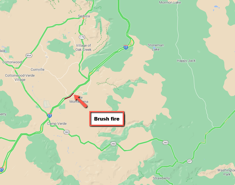 I-17 NB: A brush fire at milepost 294 is causing slow traffic. #aztraffic