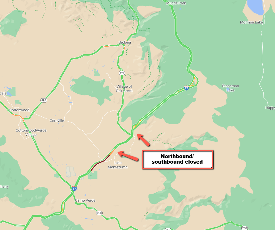 UPDATE: I-17 is now CLOSED in BOTH DIRECTIONS between SR 179 and milepost 294, north of Camp Verde. Southbound traffic must exit at SR 179. Northbound traffic should exit at SR 260. #aztraffic