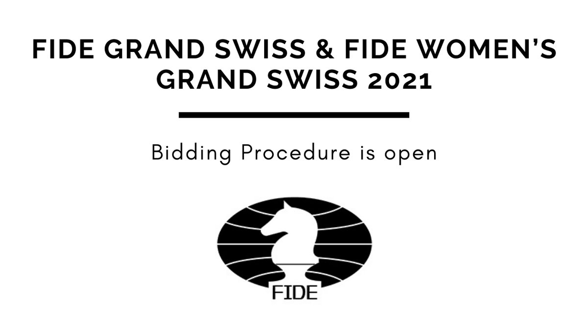 test Twitter Media - FIDE is launching the bidding procedure for two World Championship Cycle events to be held in the second part of 2021:  - FIDE Grand Swiss  - FIDE Women's Grand Swiss   The bids are to be sent by Nov 5, 2020.  Details: https://t.co/gme2Y1QT5Y https://t.co/77fFWlX4qJ