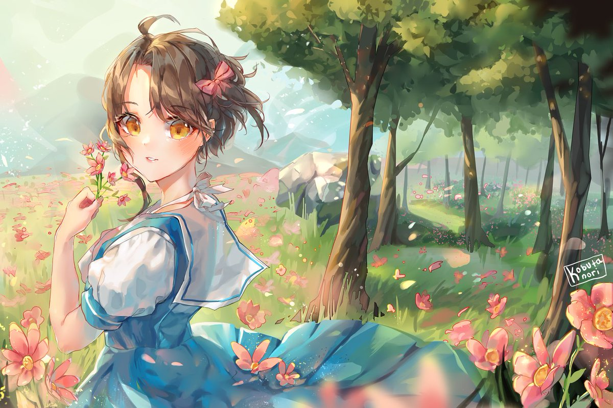 drawing of @zero15101991 's oc!  Aki, your art is a big inspo for me QAQ;; I had so much fun staring at the refs of your child while drawing this and I really enjoy how you draw flowers and foliage so I ended up adding a bg too :DDD  ---  I hope you guys enjoy!! ☺️🌸✨