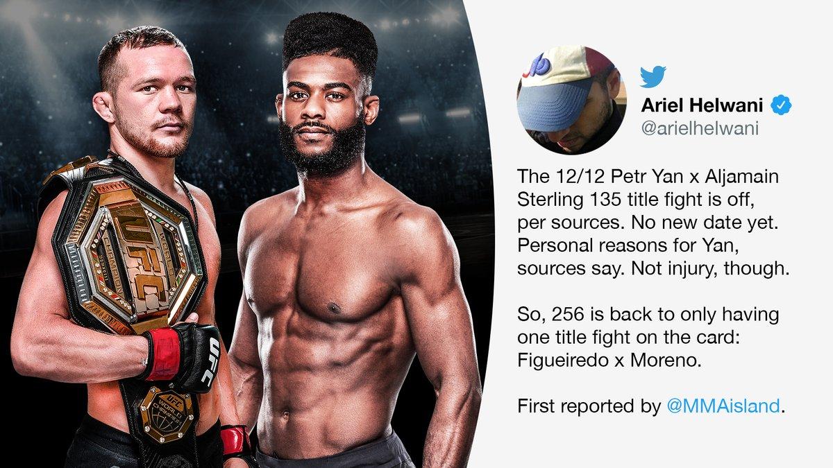 Petr Yan and Aljamain Sterling will not be fighting at UFC 256 🚫  (via @arielhelwani)