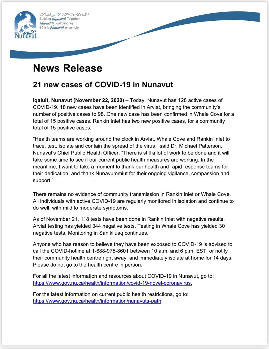 test Twitter Media - 21 new cases of #COVID19 in #Nunavut for a total of 128 active cases. https://t.co/sz0X69HP3B